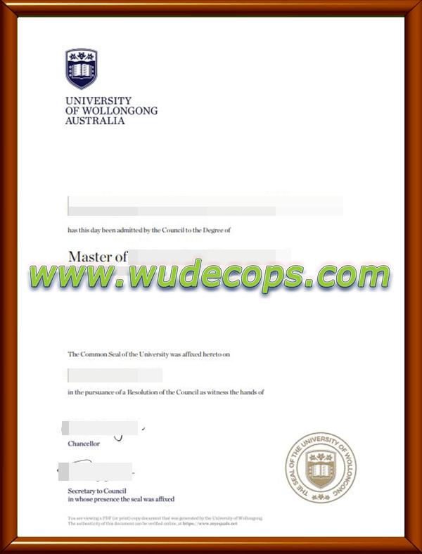 伍伦贡大学毕业证购买